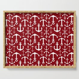 Anchors on Burgundy Serving Tray