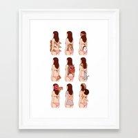 pizza Framed Art Prints featuring Girl & Pizza by Kimiaki Yaegashi
