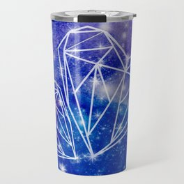 Two hearts on the watercolor galaxy, starry night, Valentines day gift Travel Mug