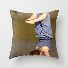 Yoga on Palolem Beach Throw Pillow