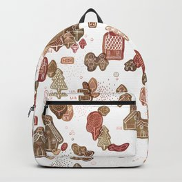 Hansel and Gretel Fairy Tale Gingerbread Pattern on White Backpack