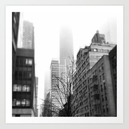 NYC in Fog Art Print