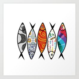 Sardines 5 colour Art Print