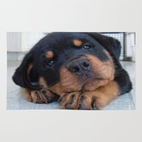 rottweiler Area & Throw Rugs featuring Riley  🐾  The Rottweiler Puppy  🐾 by D.A.S.E. 3