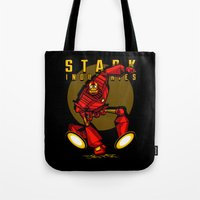 iron giant Tote Bags featuring Giant Iron Man by harebrained