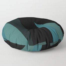 teal and black abstract Floor Pillow