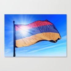 Armenia flag waving on the wind Canvas Print