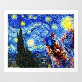 Starry Night Squirrel Photo Bomb Pop Art Art Print