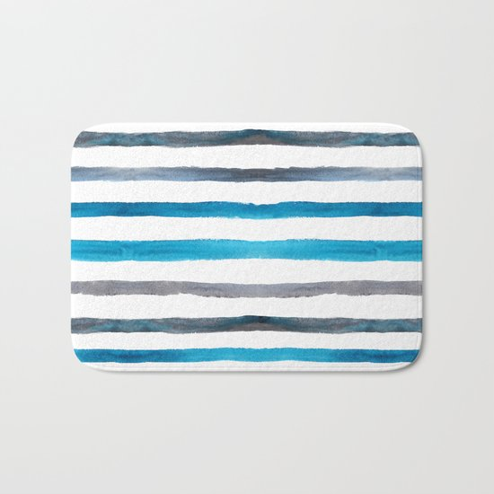 Azure blue and grey watercolor stripes Bath Mat