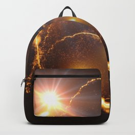 Flying Comets and light rays, digital art Backpack