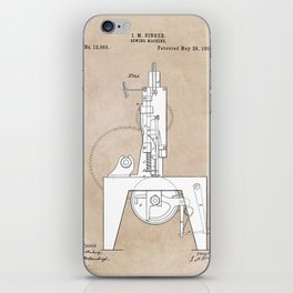 patent art Sewing Machine 1855 iPhone Skin