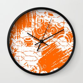 Abstract Orange Grungy Background  Wall Clock