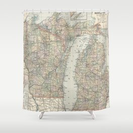 Vintage Map of Michigan and Wisconsin (1891) Shower Curtain