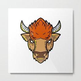 European Bison Mono Line Art Metal Print