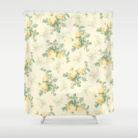 mercedes Shower Curtains featuring Yellow roses by Mercedes