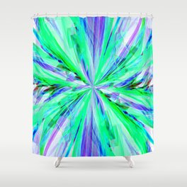 Blue/Green Feathery Abstract Shower Curtain