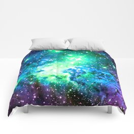 Fox Fur Nebula BRIGHT : Green Blue Purple Galaxy Comforters