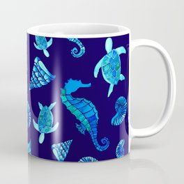 Sea Creatures | Cyan, Navy Blue Marine Animals Pattern Coffee Mug