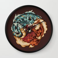 buddhism Wall Clocks featuring The Tiger and the Dragon by Megan Lara