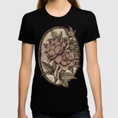 Peonies  - Color Black Womens Fitted Tee SMALL