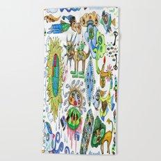 watercolor doodle Beach Towel