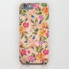 Golden Flitch (Digital Vintage Retro / Glitched Pastel Flowers - Floral design pattern) iPhone 6s Slim Case