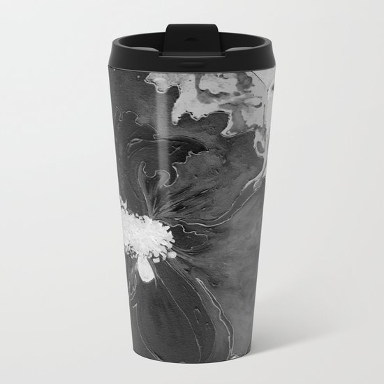 Black and White of Birthday Acrylic Blue Orange Hibiscus Flower Painting with Red and Green Leaves Metal Travel Mug