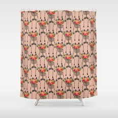 Skeleton and Flowers. Shower Curtain