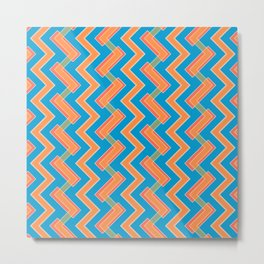 036 Abstract white, light orange and blue art for home decoration Metal Print