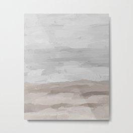 Gray Stormy Clouds Beige Sandy Beach Coastal Ocean Abstract Nature Painting Art Print Wall Decor  Metal Print