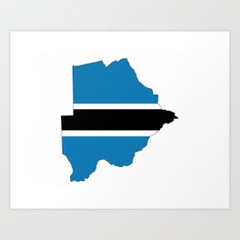 botswana flag map Art Print