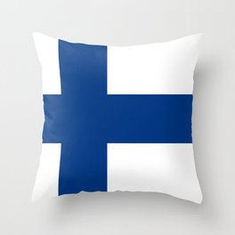 Finnish Flag - high quality image Throw Pillow