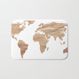 Vintage Paper World Map Bath Mat