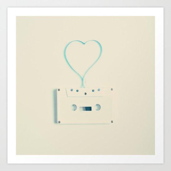 ANALOG zine, Retro white music cassette and blue heart shaped tape on beige background Art Print