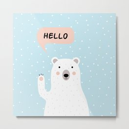 Cute Polar Bear in the Snow says Hello Metal Print