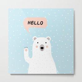Cute Polar Bear in the Snow says Hello Metal Print