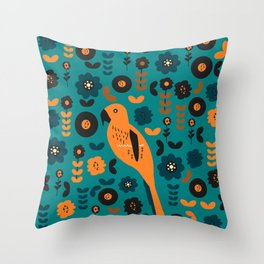 Parrot and flowers Throw Pillow