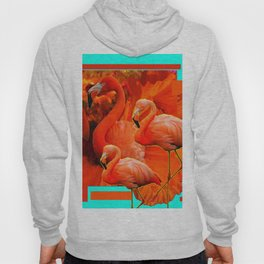 TURQUOISE & RED ART 3 SAFFRON FLAMINGOS Hoody