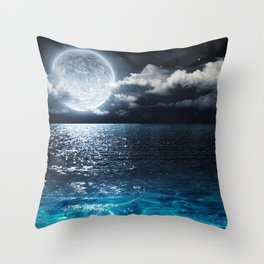 Full Moon over Ocean Throw Pillow