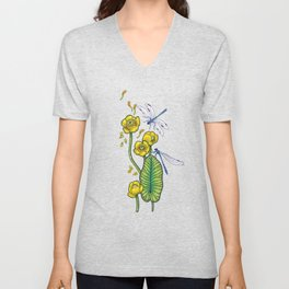 yellow water lilies and dragonflies Unisex V-Neck