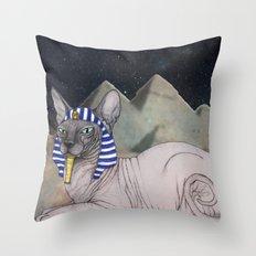 Sphynx Cat (space bg) Throw Pillow