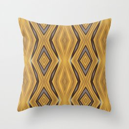 Yellow , Ochre and Brown Diamond Pattern Throw Pillow