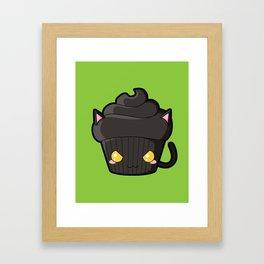 Spooky Cupcake - Black Cat Framed Art Print
