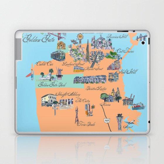 San Francisco Fine Art Print Retro Vintage Favorite Map with Touristic Highlights Active Laptop & iPad Skin