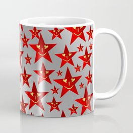 red stars and gold smilie in shiny silver Coffee Mug