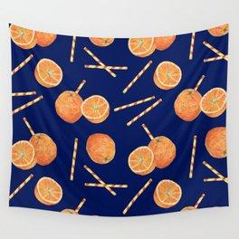 orange juice _ blue Wall Tapestry