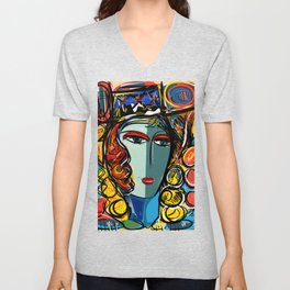 Portrait of a Girl with Hat French Pop Art Expressionism Unisex V-Neck