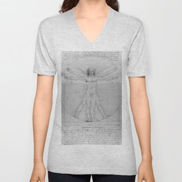 Leonardo da Vinci Vitruvian Man with Wings Study of Angels Unisex V-Neck