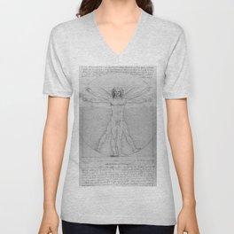 Leonardo da Vinci Vitruvian Man with Wings Study of Angels Unisex V-Neck