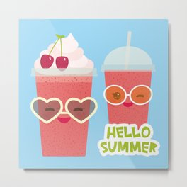 Hello Summer Kawaii cherry smoothie Metal Print